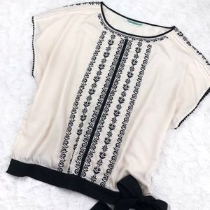 Pleione Crochet Trim Embroidered Blouse